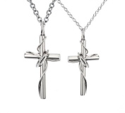 Geminis New Fashion Silver Titanium Stainless Steel Lingering Love Cross Pendant Couple Pendant Necklaces(one Pair) Best Gift!