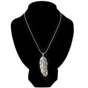 Rhodium Plated Crystal Feather Pendant