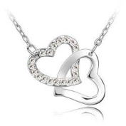 Double Heart Crystal Charm Pendant Necklace Fashion Jewellery