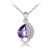 Gorgeous Acacia Leaves Charm Pendant Necklace Fashion Jewellery - Violet Crystal
