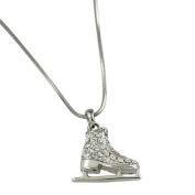 Silvertone Rhinestone Ice Skate Pendant Necklace Fashion Jewellery