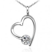 Open Heart with Cubic Zirconium Pendant Necklace Fashion Jewelery