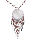 Whirlpool Silver Omate Toned, Filgree Halos, Brown Beaded Dangle Pendant Necklace