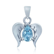 Natural Blue Topaz 925 Sterling Silver Angel Wings Pendant