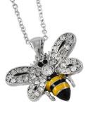 Rhodiumized Black and Yellow Epoxy Clear Rhinestone Bee Pendant Necklace