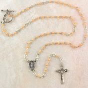 Womens Rosary Necklace, 3mm Bead, Silver & Pink Bead