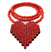 New Good Wood PUZZLE HEART Pendant Necklace Red WX81RD