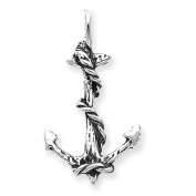 Sterling Silver 3D Antiqued Anchor and Rope Pendant