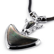 Rhodium Plated Shell Pendant with Mother of Pearl and Adjustable Necklace