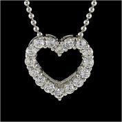 0.64 Carat Sterling Silver CZ Heart Pendant