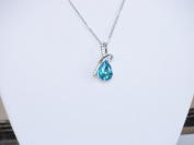 Necklace - Silver Aqua Crystal Tear Drop Necklace - Kiki's Aqua Twist