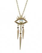 Goldtone Evil Eye Spiked Pendant Necklace