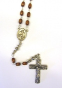 4X6MM Brown Trinity Rosary Crucifix Necklace Catholic Christian Religious Cross