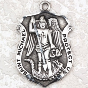 Antique Design, Deluxe Satin Silver Finished Pewter Pendant, St. Michael Medal with 61cm Chain. Patron Saint of Police Officers & EMT's & Protection