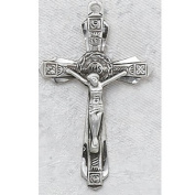 Antique Design, Deluxe Satin Silver Finished Pewter Pendant, Crucifix Cross Medal with 61cm Chain