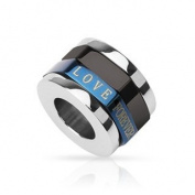 316L Stainless Steel Duo Tone Blue and Black IP 'LOVE FOREVER' Cylinder Spinner Pendant - 15mm x 10mm