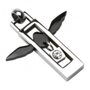 316L Stainless Steel Black Angel Wing with CZ Square Pendant - 40mm x 35mm