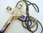 Unique Blue Enamelled Gold Gild St Saint Benedict Cross Crucifix Pendant W Rope
