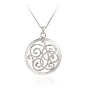 Sterling Silver Open Swirl Circle Pendant Necklace , 45.7cm