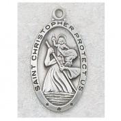 Antique Design, Deluxe Satin Silver Finished Pewter Pendant, St. Christopher Medal with 61cm Chain