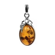Certified Genuine Honey Amber Sterling Silver Small Grapevine Pendant