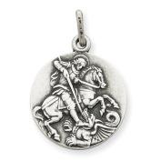 Sterling Silver Antiqued Saint George Medal