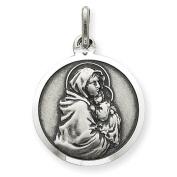Sterling Silver Antiqued Madonna & Child Medal