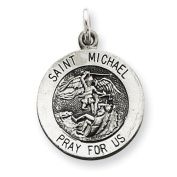 Sterling Silver Antiqued Saint Michael Medal