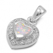 12mm Sterling Silver White Lab Opal Heart Pendant Valentines Day w/ chain