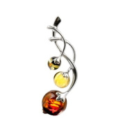 Sterling Silver Multicolor Amber Branch of Berries Pendant