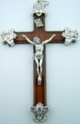 Traditional Gothic Silver Caps Pectoral Crucifix Cross Lucite Jesus Christ Brown
