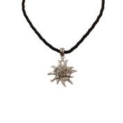 Alpenflustern Drawstring Necklace with Rhinestone Edelweiss (black) - Traditional Bavarian Oktoberfest Necklace for Dirndl