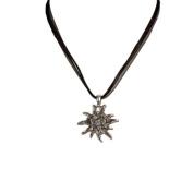 Alpenflustern Necklace Rhinestone Edelweiss (black) - Traditional Bavarian Oktoberfest Necklace for Dirndl