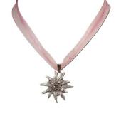 Alpenflustern Necklace Rhinestone Edelweiss (rose) - Traditional Bavarian Oktoberfest Necklace for Dirndl