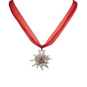 Alpenflustern Necklace Rhinestone Edelweiss (red) - Traditional Bavarian Oktoberfest Necklace for Dirndl