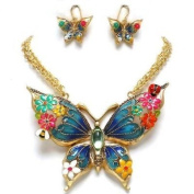 Beautiful X-large Golden Enamelled Butterfly Necklace and Earrings Set Fashion Jewellery