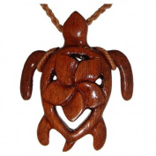 Hawaiian Jewellery Koa Wood Turtle Plumeria Flower Necklace