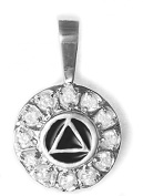Alcoholics Anonymous Sterling Silver AA Symbol Pendant, #962-3, 1.6cm Wide and 2.5cm Tall, Sterling Silver, Black Enamel Inlay with 12 Clear Cubic Zirconia's, One for Each Step