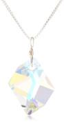 Sterling Silver. Elements Crystal Aurora Borealis Cosmic Pendant Necklace, 45.7cm