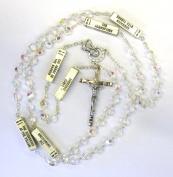 7MM Aurora Borealis Crystal MYSTERY Rosary Cross Crucifix Necklace Catholic Christian Religious
