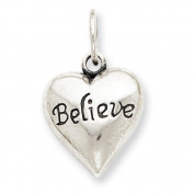Sterling Silver Antiqued Believe Pendant