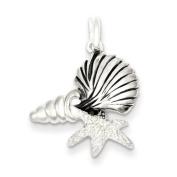 Sterling Silver Polished Antiqued/Laser Cut/Satin Seashells Pendant