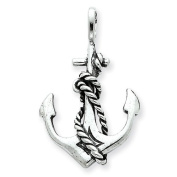 Sterling Silver Antiqued Anchor and Rope Pendant
