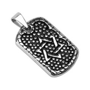 316L Stainless Steel Star of David Dog Tag Pendant - 40mm X 21.5mm