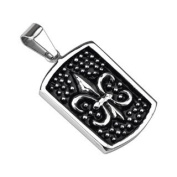 316L Stainless Steel Antiquated Fleur De Lis Dog Tag Pendant - 50mm x 25mm