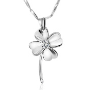 Chaomingzhen Rhodium Plated 925 Sterling Silver Cubic Zirconia Heart Shaped Four Leaf Clover Pendant Necklace for Women Fashion Jewerly for Girlfriend 45.7cm
