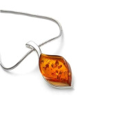 Sterling silver and leaf-shaped, cognac amber pendant on 46cm sterling silver chain