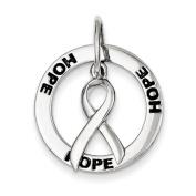 Sterling Silver Hope Circle & Cancer Awareness Ribbon Pendant