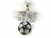 Silvertone Crystal I Love Soccer Pendant Necklace Fashion Jewellery