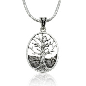925 Sterling Silver Large Tree of Life Pendant Oval Shape Pendant with Rhodium Plated Chain Necklace w/ Lobster clasp 45.7cm
